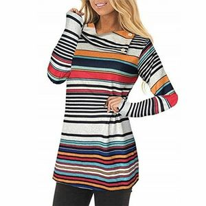 🌈Long sleeve striped cowl neck tunic NWOT